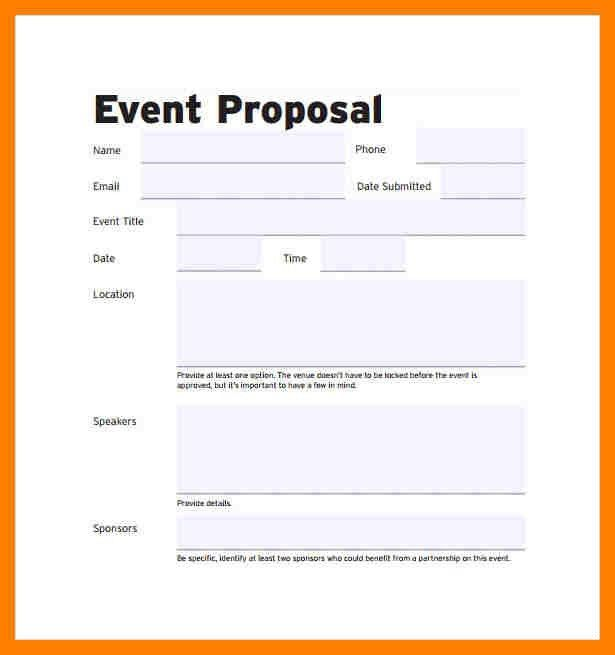 Sample Event Proposal Template. proposal form template proposal ...