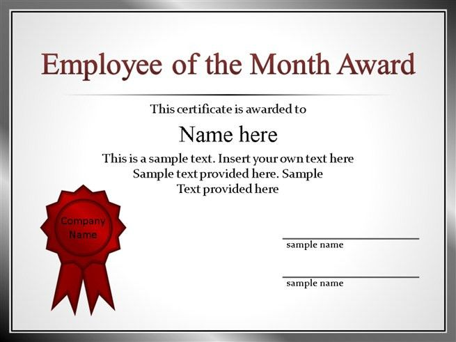 Employee of the Month - Here is our free Certificate for your ...