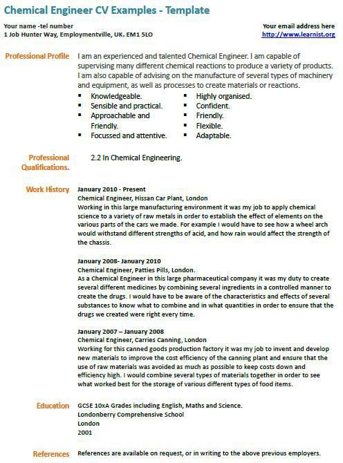 Skillful Chemical Engineer Cv Example : Vinodomia