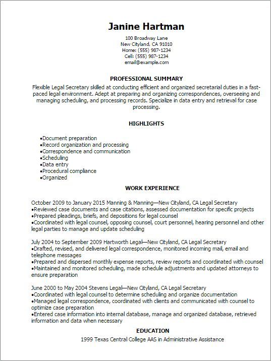 Professional Legal Secretary Resume Templates to Showcase Your ...