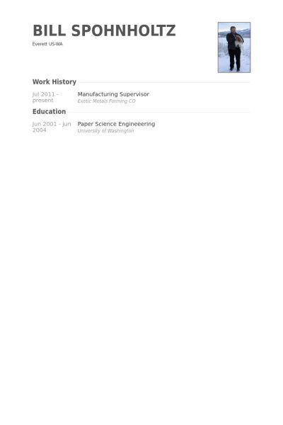 Manufacturing Supervisor Resume samples - VisualCV resume samples ...