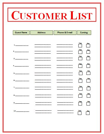 Customer List Templates | Free List Templates