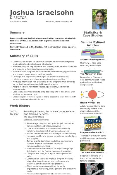 Tech Resume samples - VisualCV resume samples database