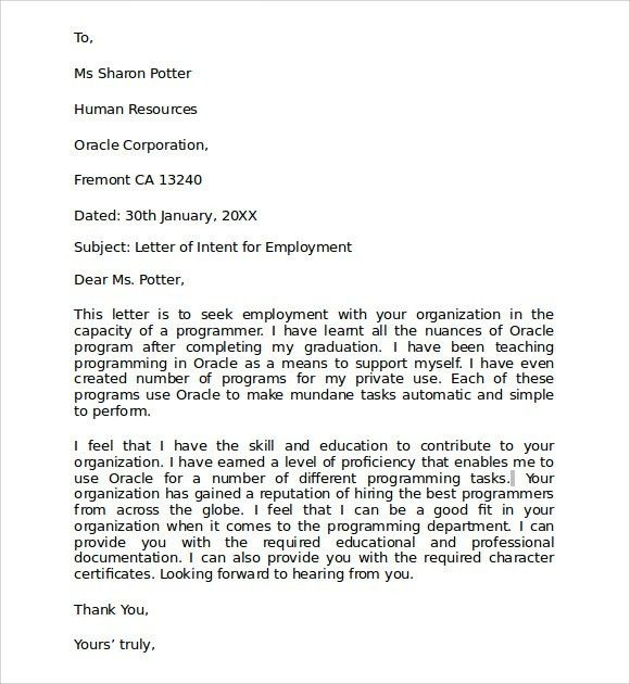 Sample Letter of Intent for Employment - 9+ Documents in PDF , Word