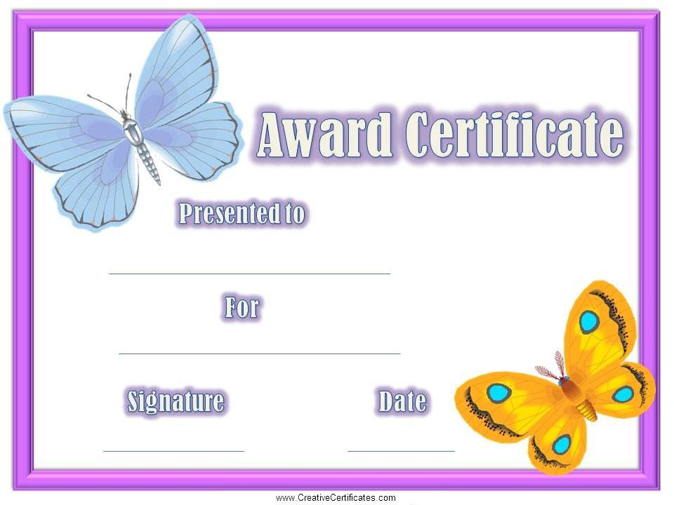 participation certificate templates for kids