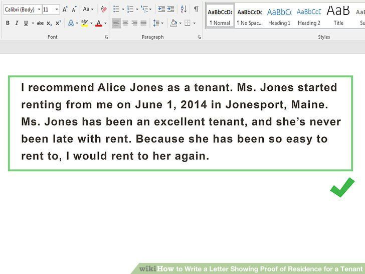 How to Write a Letter Showing Proof of Residence for a Tenant ...
