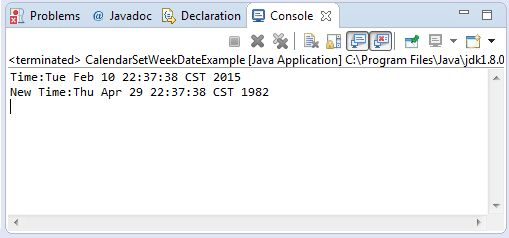 Java Calendar setWeekDate() method example
