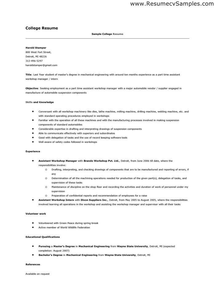 Example Of Resume For College Application. Example Student Resumes ...