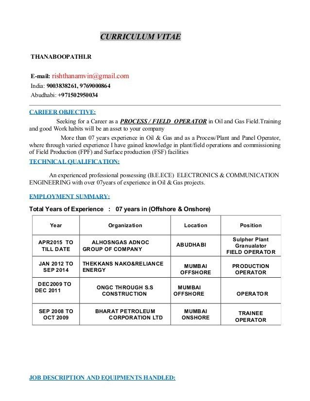 Thanam operator resume