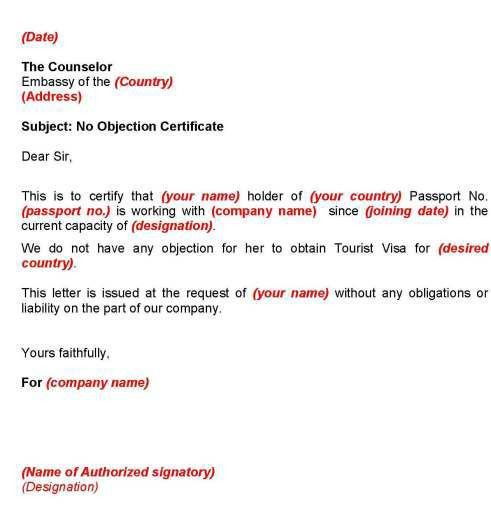 Ideas of No Objection Letter From Employer For Australian Tourist ...