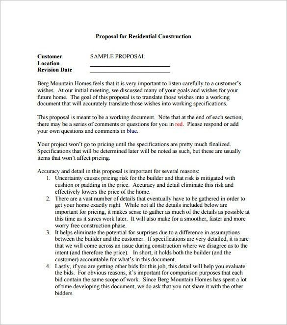 Construction Proposal Template – 10+ Free Sample, Example, Format ...