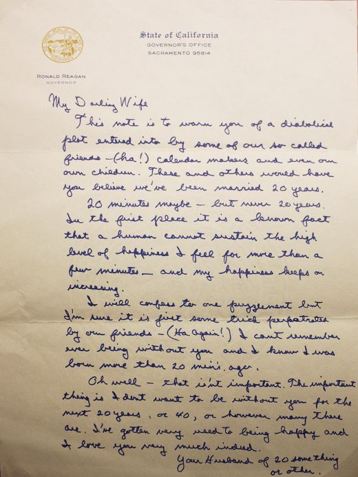 Ronald Reagan's 20th Anniversary Love Letter To Wife Nancy Is ...