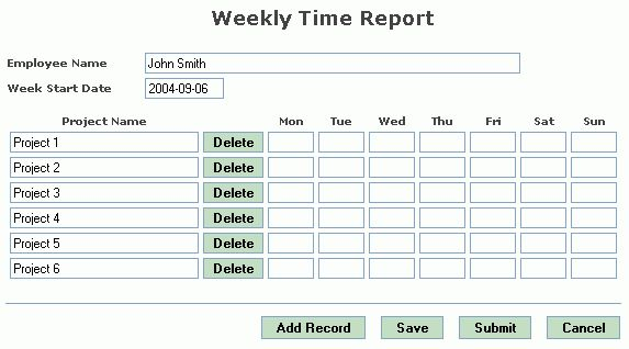 Example: Weekly Time Report