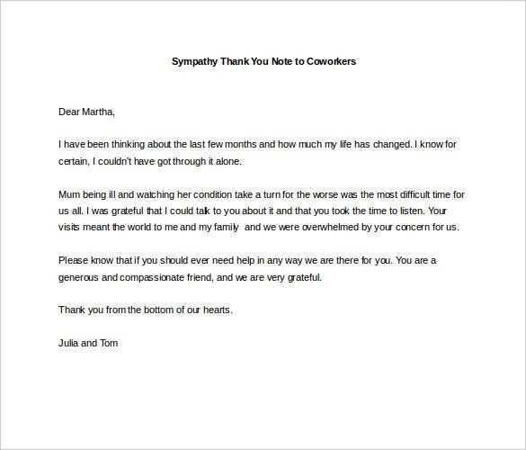 6+ Sympathy Thank You Notes – Free Sample, Example, Format ...