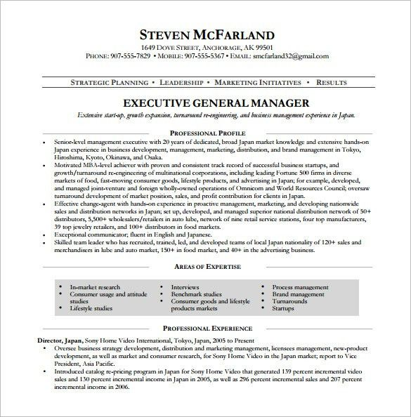 Manager Resume Template – 13+ Free Word, Excel, PDF Format ...