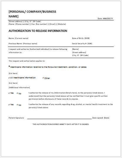 Record Release Form Templates for MS Word | Word & Excel Templates