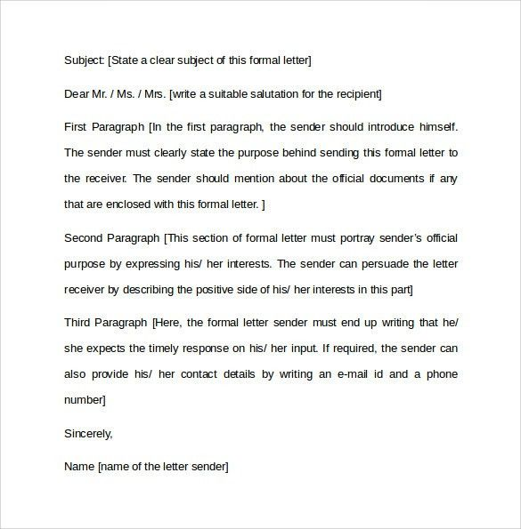 Formal Letter Format - 12+ Free Samples, Examples & Formats