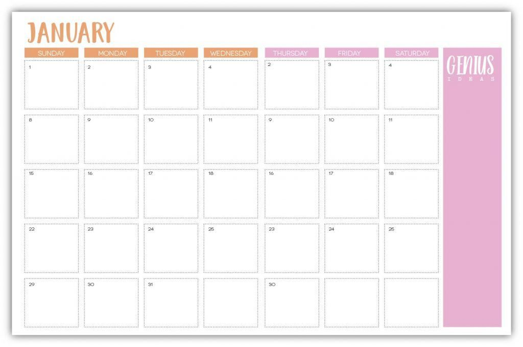 Free Printable Agenda Calendar - Damask Love