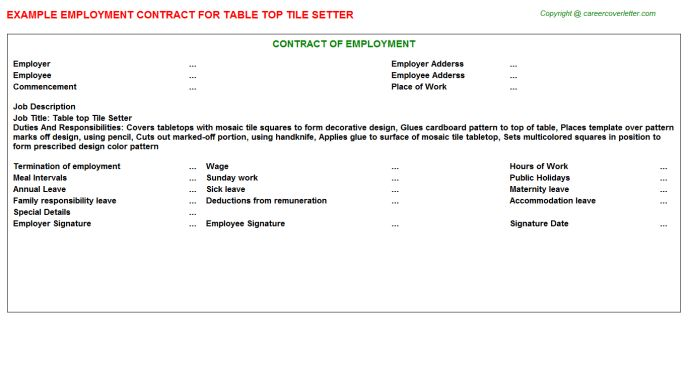 Table Top Tile Setter Employment Contract