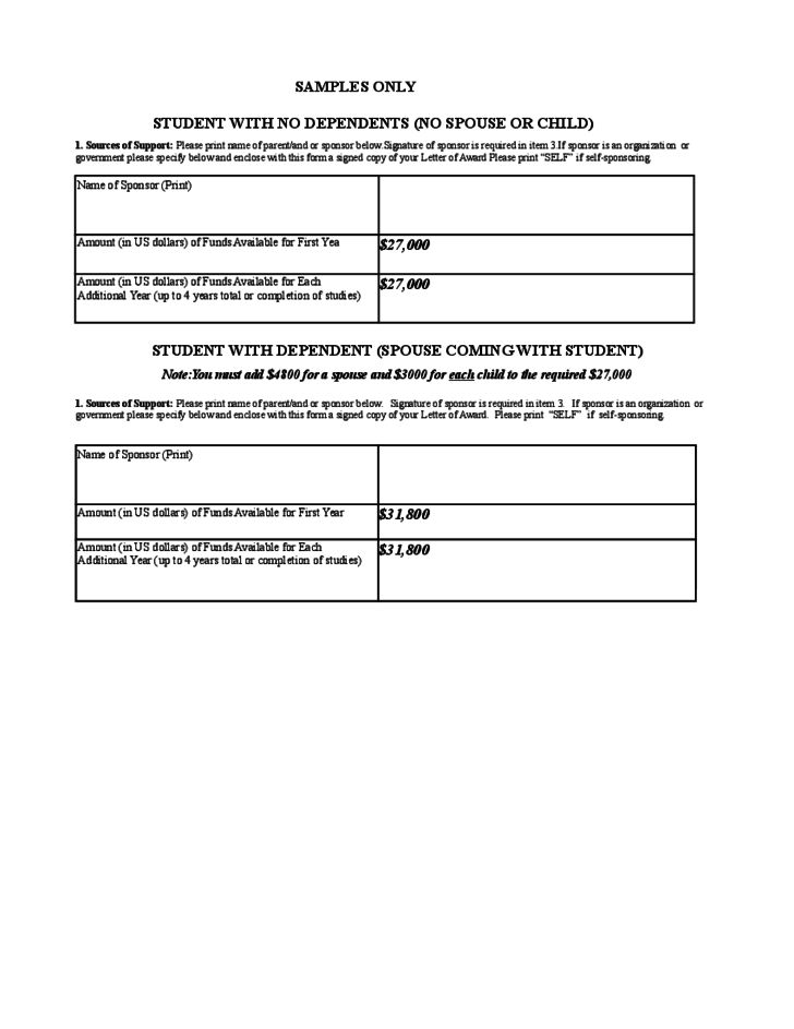 McNeese Affidavit of Support Form - Louisiana Free Download