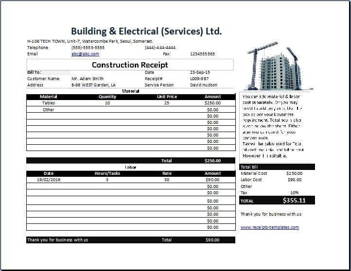 Construction Receipt Template Free | Collection of Business ...