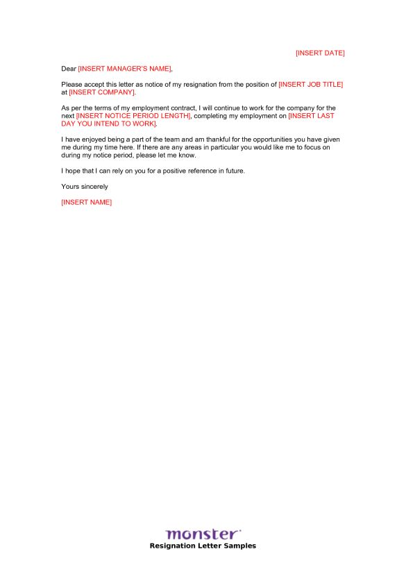 Short Resignation Letter Text Template with Short Notice : Vntask.com