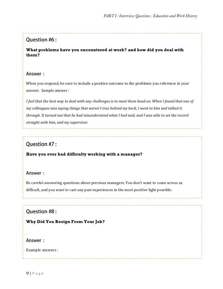 Collection of job interview questions and the answers
