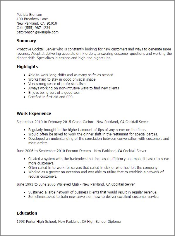 Sample Resume for Cocktail Waitress Job Position ...