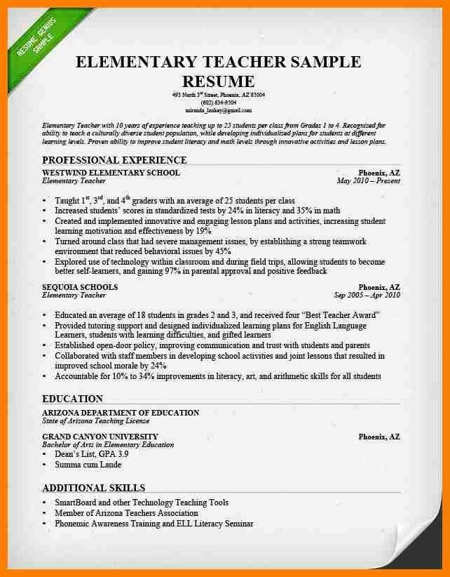 sample resume elementary teacher teacher resume sample page 1