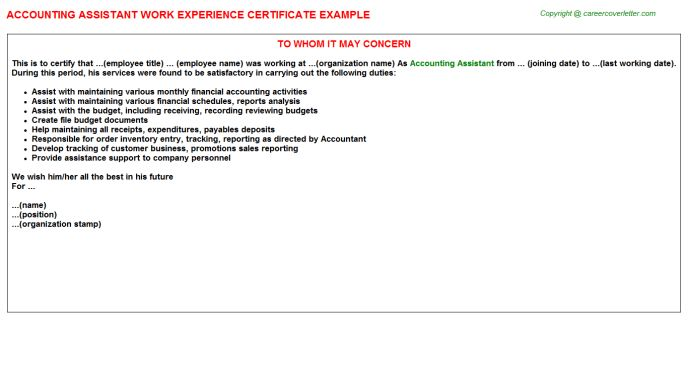 Accounting Assistant Work Experience Letters