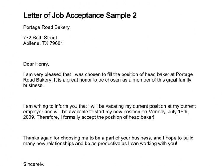 job acceptance letter example - Writing Resume Sample | Writing ...