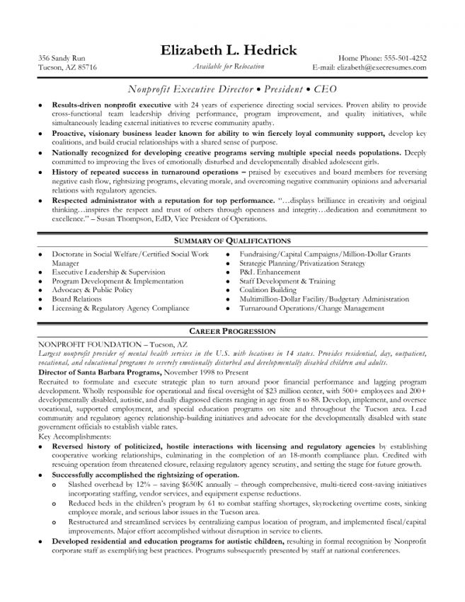 executive director sample resume 48 best best executive resume