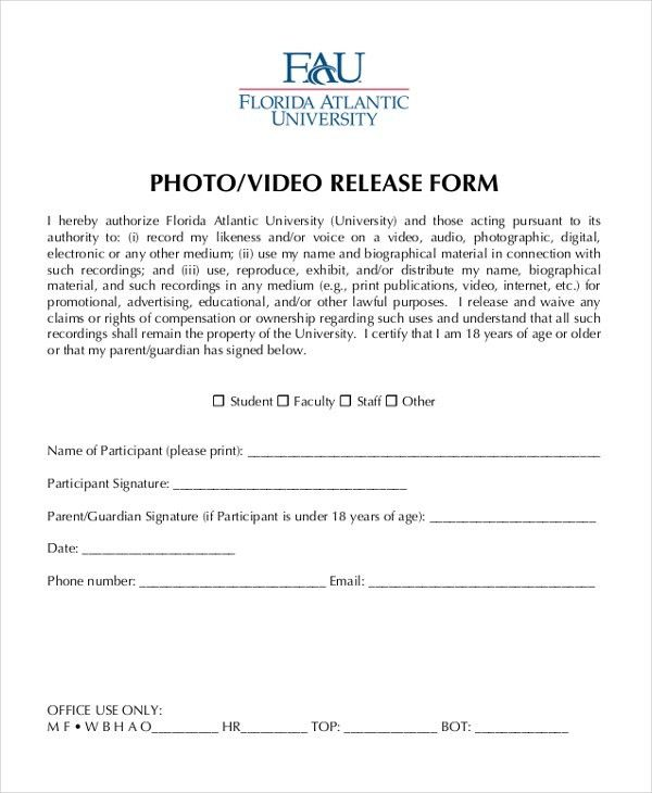 Release Forms Template Media Release Form Template 8 Free Sample – Sample Video Release Form