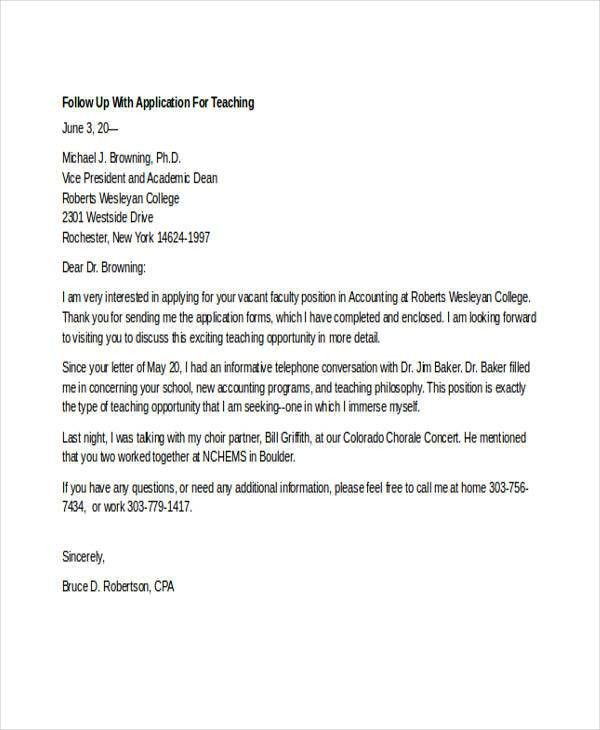 cover letter follow up