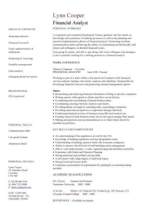 Financial analyst CV sample, interrogating financial data ...