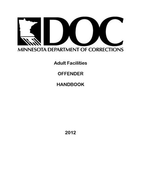 MN Adult Facilities Offender Handbook MN DOC 2012 | Prison Legal News