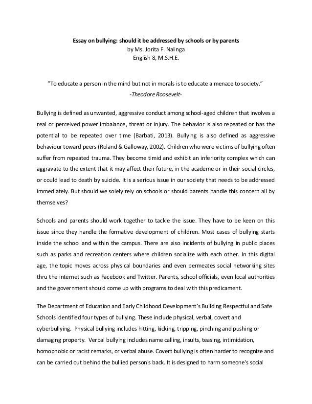 bullying essay example haadyaooverbayresortcom