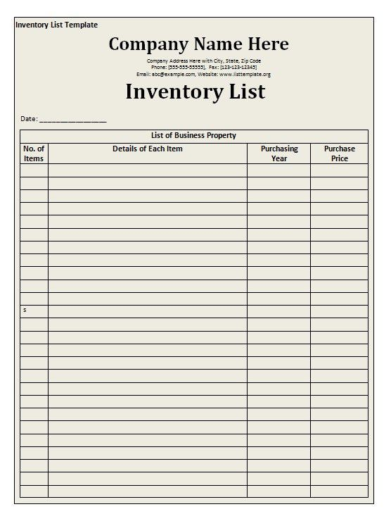 Stock List Template | free to do list