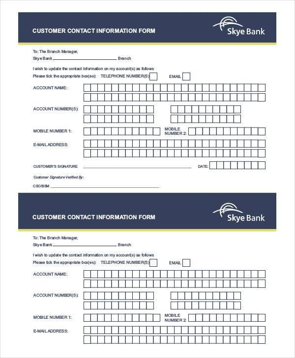 8+ Customer Information Forms - Free Samples, Examples Format Download