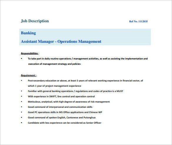 10+ Assistant Manager Job Description Templates – Free Sample ...