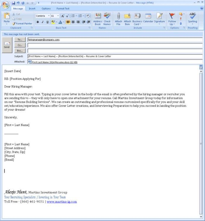 Resume Email Cover Letter