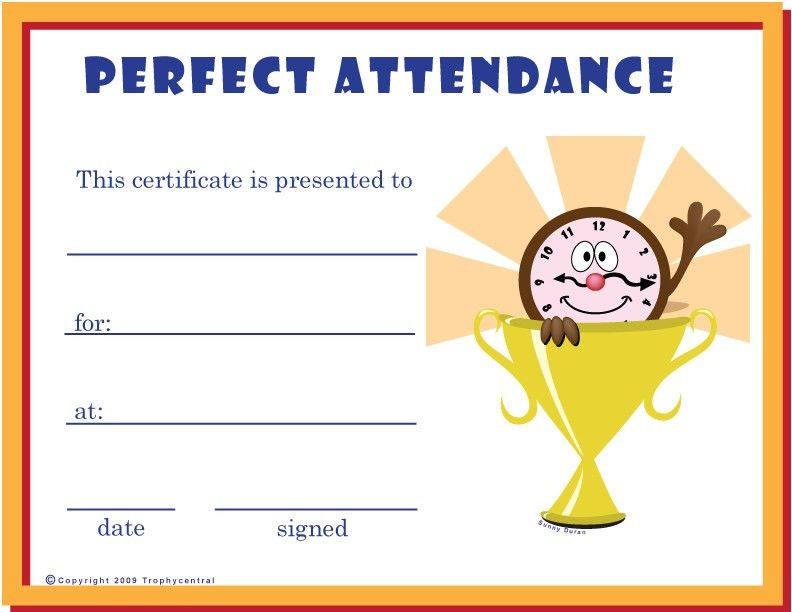Free Perfect Attendance Certificates, Certificate Free Perfect ...