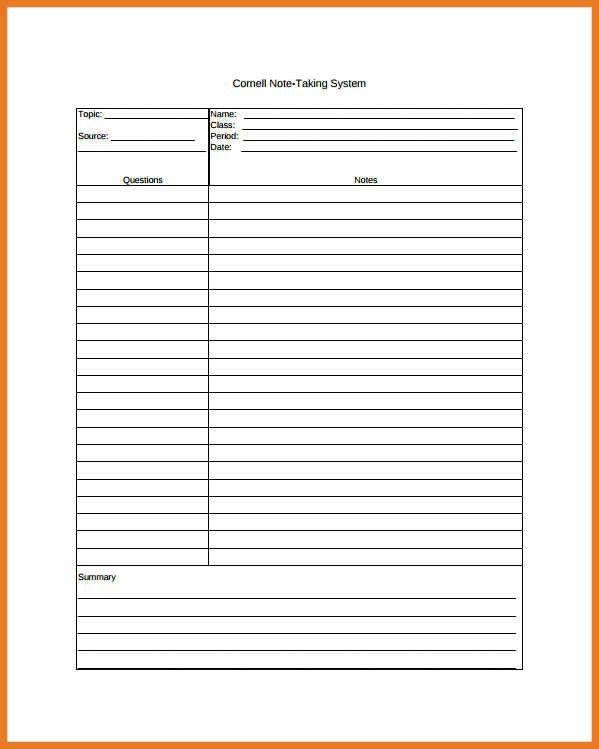cornell note taking template | art resume skills