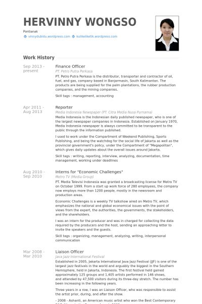 Finance Officer Resume samples - VisualCV resume samples database