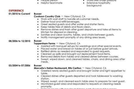 On My Resumes Host Hostess Resume Example, Restaurant Busser ...