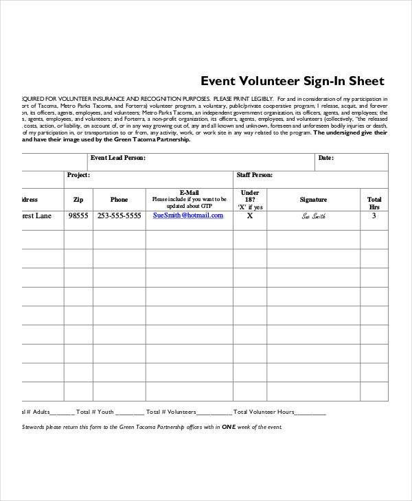 Volunteer Sign-In Sheet Templates - 9+ Free PDF Documents Download ...