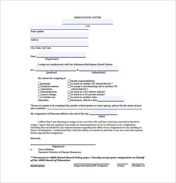 11+ Resignation letter Format Templates - Free Sample, Example ...