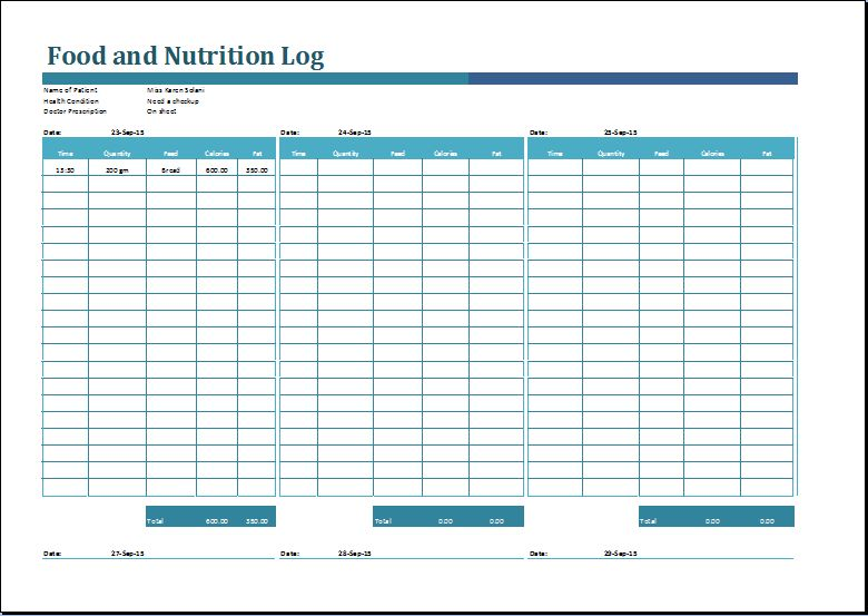 MS Excel Printable Food and Nutrition Log Template | Word Document ...