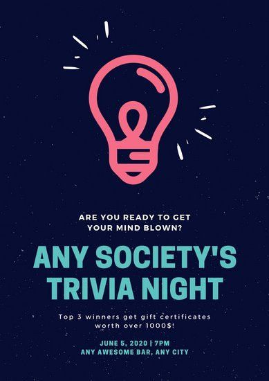 Neon Pink and Teal Light Bulb Trivia Night Poster - Templates by Canva