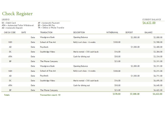 Check register with transaction codes - Office Templates